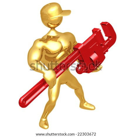 Holding A Giant Pipe Wrench - stock photo