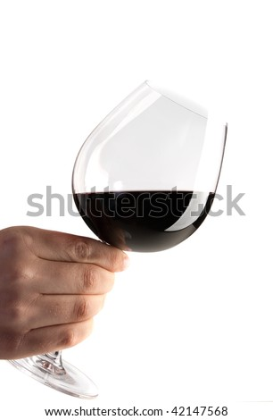holding a glass of red wine isolated on white background - stock photo