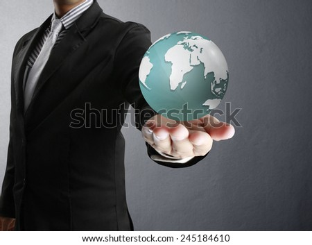 holding a glowing earth globe in his hands (NASA). Extremely detailed image including elements furnished by NASA  - stock photo