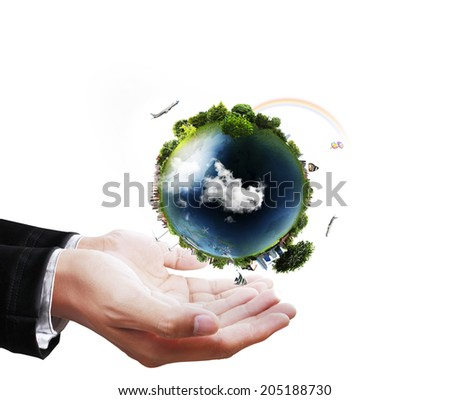 holding a glowing earth globe in his hands (NASA) globe in his hand. Extremely detailed image including elements furnished by NASA  - stock photo