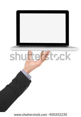 Holding a laptop with blank screen