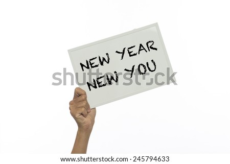 Holding a message board on a white background