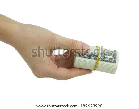 Holding a roll of one dollar bills, pay actions, concepts and ideas