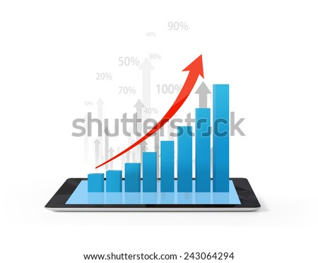 holding a tablet computer with graphic  - stock photo