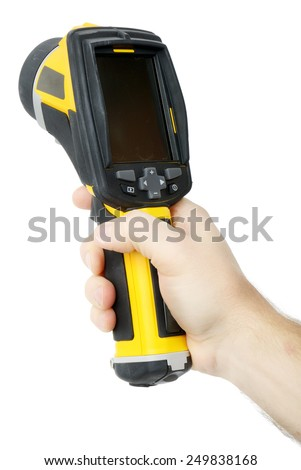 Holding a thermal imaging camera isolated over a white background - stock photo