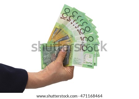 Holding Australian dollar banknotes  in hand in white background