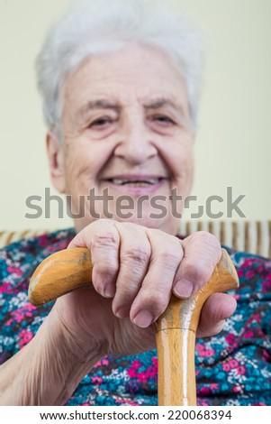 holding cane - stock photo