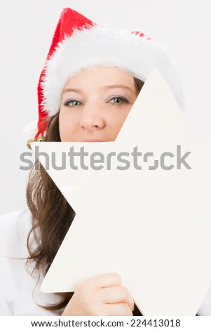 holding christmas star - stock photo