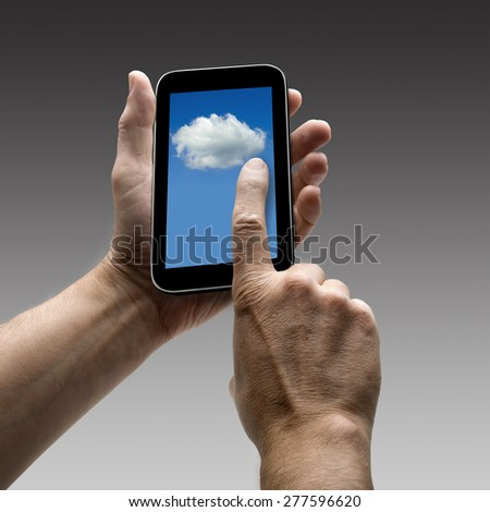 Holding Clouds screen on smart phone. There is a route for hand and finger.