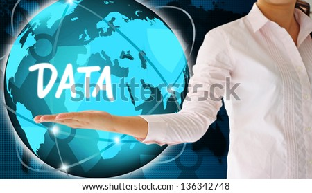 holding data  in hand,creative concept - stock photo