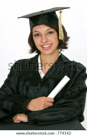 holding diploma as she graduate's on white background - stock photo