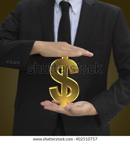 holding dollar icon gold