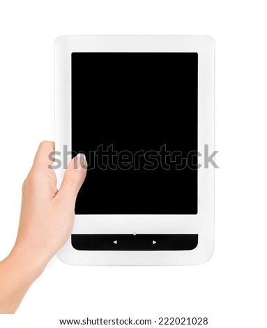 Holding E-book reader in hands. Include clipping path for screen - stock photo