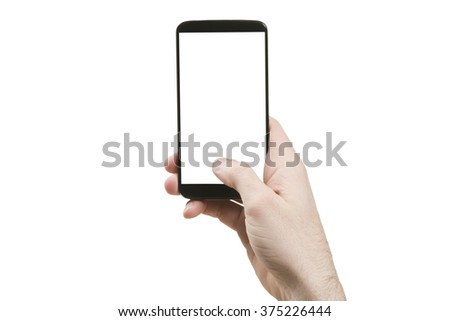 Holding generic smart phone vertically - stock photo