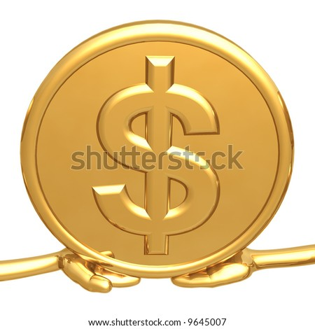 Holding Gold Dollar Coin - stock photo