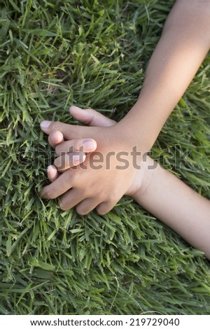 Holding Hands children on the lawn