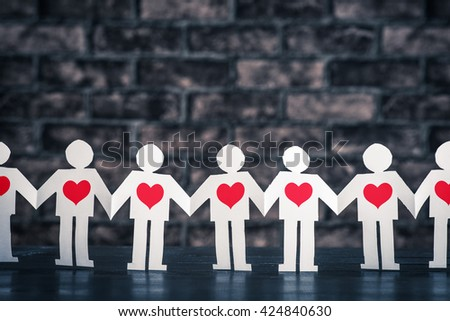 Holding Hands people silhouette - stock photo