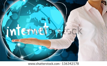 holding internet  in hand,creative concept - stock photo