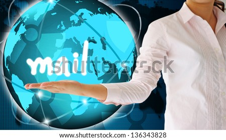 holding mail  in hand,creative concept - stock photo