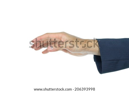 Holding mouse or catch something of businessman on white background. Hand gesture is touching something.