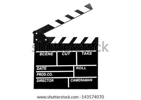 Holding out  clapper board or slate black board on white background with clipping path  - stock photo