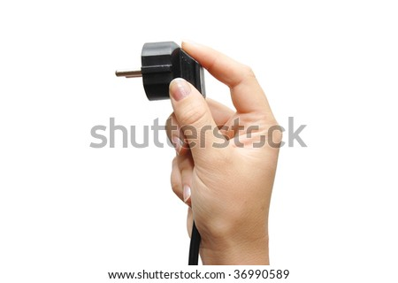 holding power plug, isolated on white background