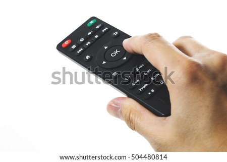 Holding remote control, isolated on White background
