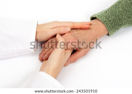 Holding senior hand care - stock photo