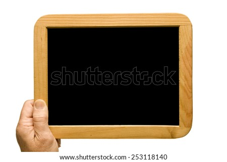 Holding Small Blackboard With Blank Copy Space Isolated On White - stock photo
