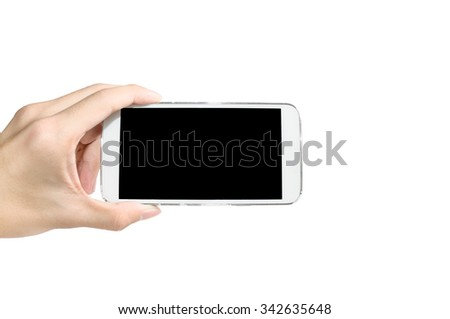 Holding smart phone capture video or picture on white background