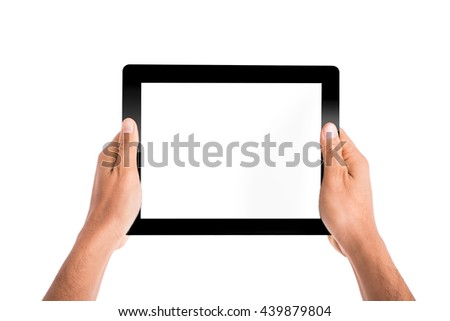 Holding tablet pc with hands for your work business communication. - stock photo