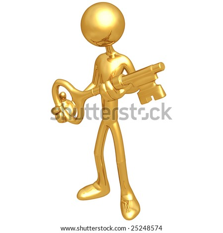 Holding The Golden key - stock photo