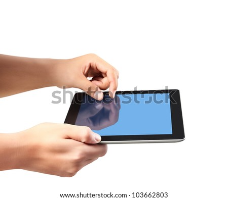 holding touch screen tablet and shows tablet in hand