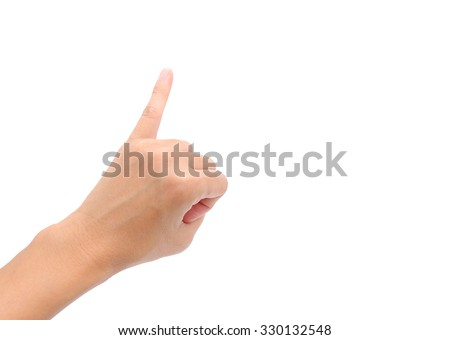 Holding up the little finger isolated on a white background - stock photo