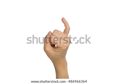 Holding up the little finger isolated on a white background with clipping path