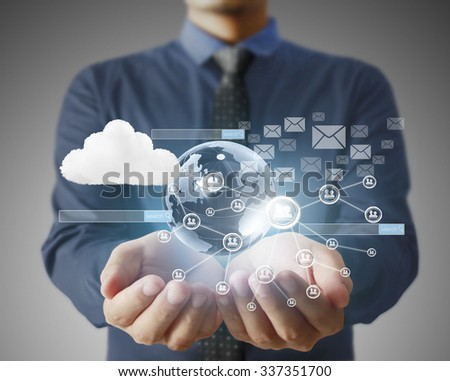 Holding virtual icon of social network  - stock photo