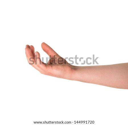 Holding with tips of fingers caucasian hand gesture copyspace composition isolated over white background - stock photo
