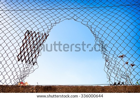 hole at a wiremesh - stock photo