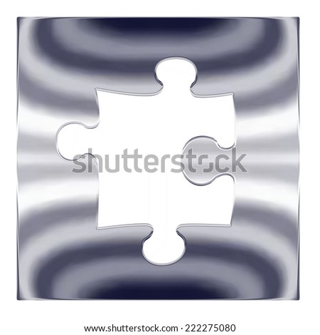 Hole for one piece silver metal jigsaw puzzle - stock photo