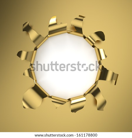 Hole in a golden sheet. Computer generated image with clipping path. - stock photo