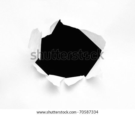 Hole in a sheet of paper