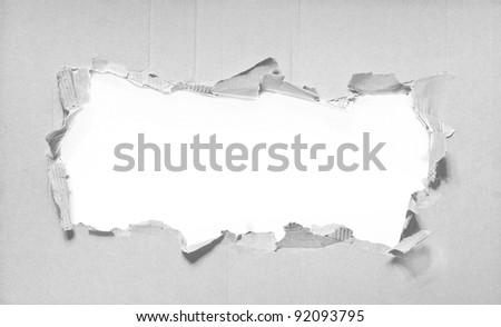hole in paper - stock photo
