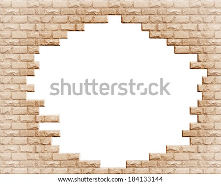 Hole in the brick wall  - stock photo