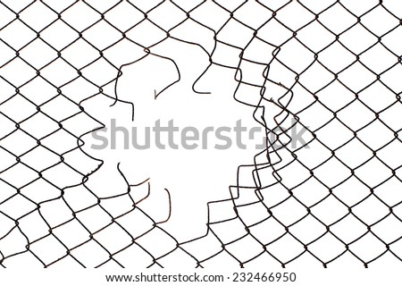 hole in the center of mesh wire fence