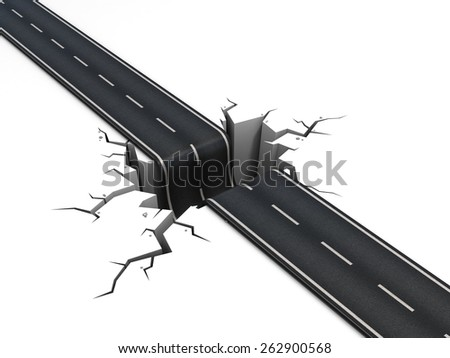 hole in the middle of the road 3d illustration - stock photo