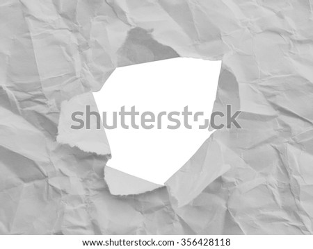 Hole in the paper sheet on white, clipping path. - stock photo