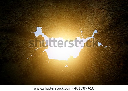 Hole in the Rusty Metal with Sunlight - stock photo