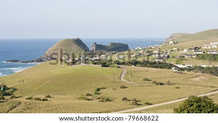 Hole in the wall landscape in South Africa Wild Coast in sunshine - stock photo