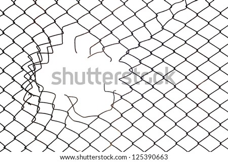 hole in the wire mesh fence at white background