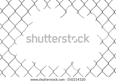 Hole in the Wire Mesh Fence on a white background - stock photo